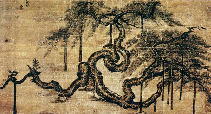 Vieux pin de l'autel Sajik, JeongSeon(1676-1759), encre et couleurs légères sur soie © Korea University Museum