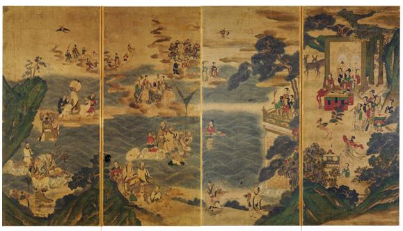 Banquet de la Reine mère d'Occident sur le lac de Jade  (요지연도  瑤池宴圖), période Choson, 1800, encre et couleurs sur soie, 113×198,4 cm