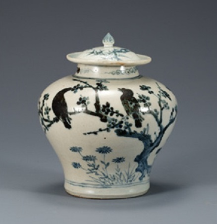 Jar, White Porcelain with Plum, Bamboo and Bird Design, Joseon dynasty, Korea, 15th-16th century, H. 16.5 cm, National Museum of Korea, National Treasure No. 170