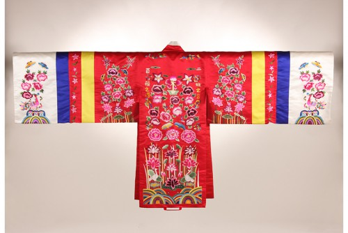 Bridal Gown Embroidered with Peonies and Pheonixes. Korea, ca. 1975 replica of 18th century gown in the National Palace Museum, Seoul. Silk. Gift of Dr. Young Yang Chung, 2008 2008.12.1.