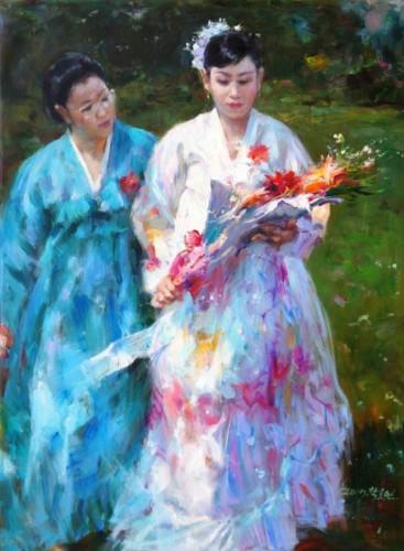 Jeunes filles en fleurs sous le pinceau de Tak Yo-yeon. Photo Courtesy Fondation Springtime Art