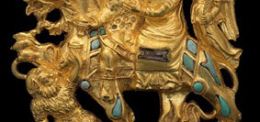 Dionysos et Ariane chevauchant un griffon. Bactriane (Afghanistan). i er siècle ap. J.-C.