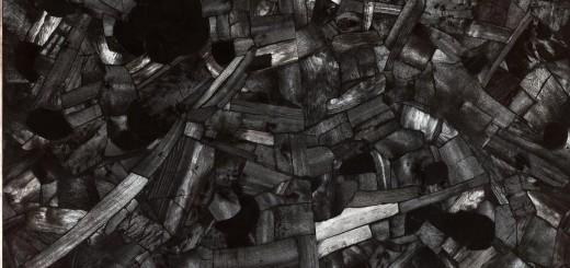 © LEE Bae, Issu du feu, 163 X 130 cm, charbon de bois sur toile, 2000