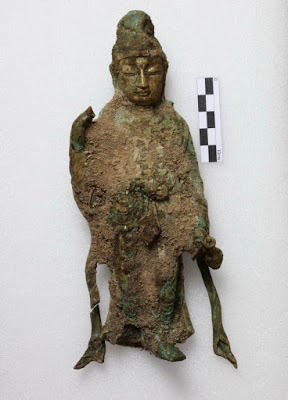 The Buddha statue found at a temple site in Yangyang, Gangwon Province,  on Wednesday [Credit: Cultural Heritage Administration of Korea]