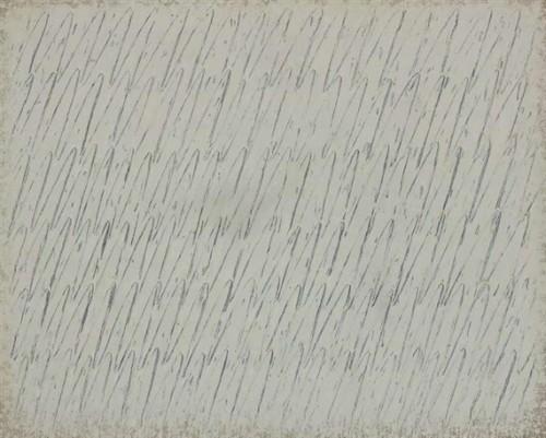 Ecriture No. 41-75, 1975, Park Seo-Bo, Oil and pencil on canvas; 130 x 162 cm.