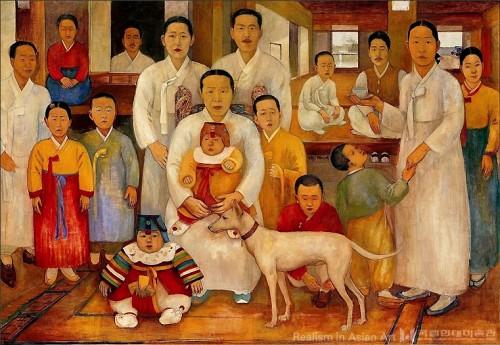 Pae Unsung배운성 (1900-1979), Une grande famille 가족도, 1930-1935, huile sur toile, 140 X 200 cm, collection particulière.