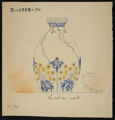 Projet de décor pour un vase Oul-San de Gabrielle Rault, mine graphite et gouache, 1908, Sèvres – Cité de la céramique. © Sèvres – Cité de la céramique