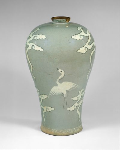 Maebyeong decorated with cranes and clouds 청자 상감 구름 학 무늬 매병 고려 靑磁象嵌雲鶴文梅甁 高麗, Stoneware with inlaid design under celadon glaze, Goryeo dynasty (918–1392), late 13th century, H. 11 1/2 in. (29.2 cm); Diam. 7 1/8 in. (18.1 cm); Diam. of base 4 3/8 in. (11.1 cm).
