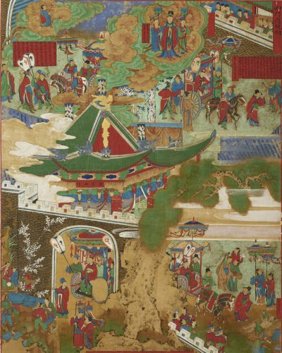 Birth at Lumbini (The Second of the Eight Scenes of Buddha's Life) 비람강생상 (팔상도 중 제2폭) 毘藍降生相 (八相圖中第二幅), Joseon dynasty, 18th century, colors on silk, 144.4×104.2cm © Hoam Art Museum.