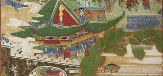 Birth at Lumbini (The Second of the Eight Scenes of Buddha's Life) 비람강생상 (팔상도 중 제2폭) 毘藍降生相 (八相圖中第二幅), Joseon dynasty, 18th century, colors on silk, 144.4×104.2cm © Hoam Art Museum.
