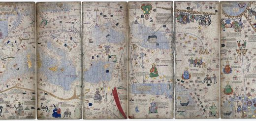 Cresques Abraham, Catalan Atlas, 1375. Detail depicting 13th century Asia with caravan on the silk road. (Source: Wikimedia Commons)